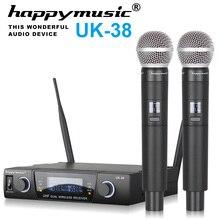 Yüksek kaliteli profesyonel çift kablosuz mikrofon sistemi sahne performansları iki kablosuz mikrofon Karaoke mic