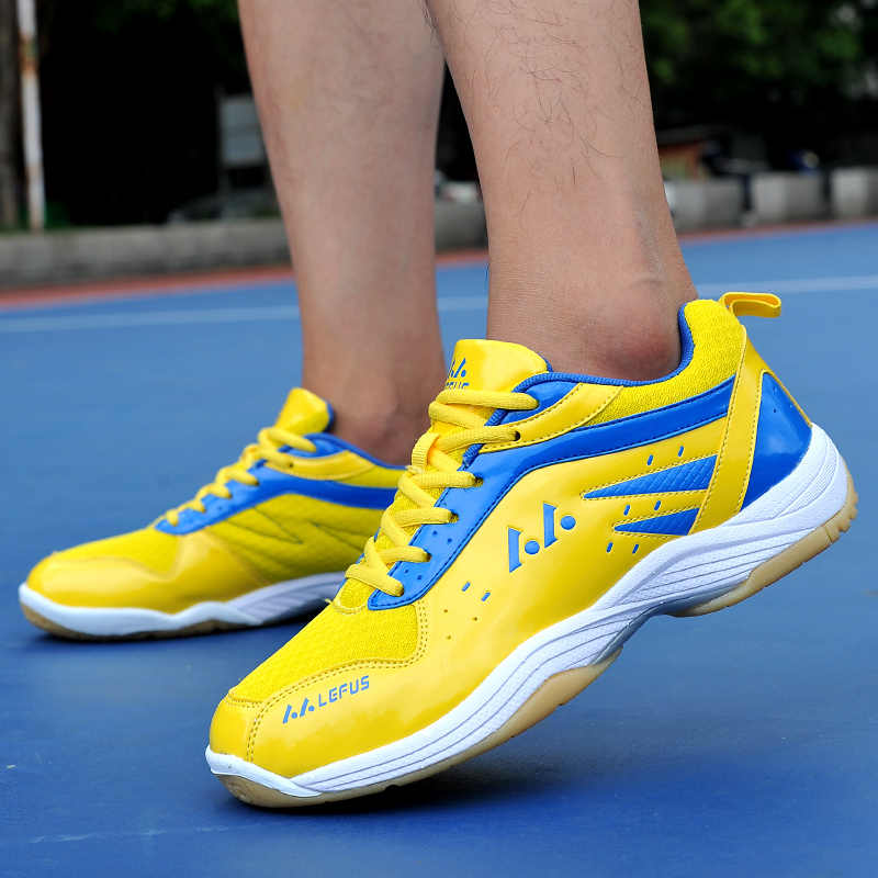 Unisex Badminton Shoes Spring Autumn Mens Athletic Shoes Comfortable Women Fitness Sneakers Yellow Blue Indoor Sport Shoes