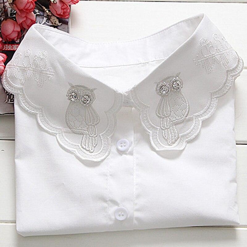 Vintage Women Fashion Detachable Collars Embroidery Fake Lapel Collar Shirt Women All-match False Color White Shirt Fake Collar