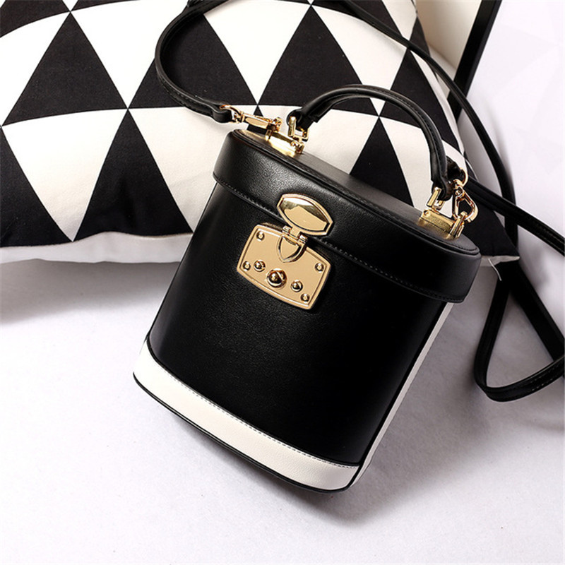 Fashion Genuine Leather Bucket Bag Women Handbags Contrast Color Messenger Bags Concise Leisure Fashion Genuine Leather Bucket Bag Women Handbags Contrast Color Messenger Bags Concise Leisure