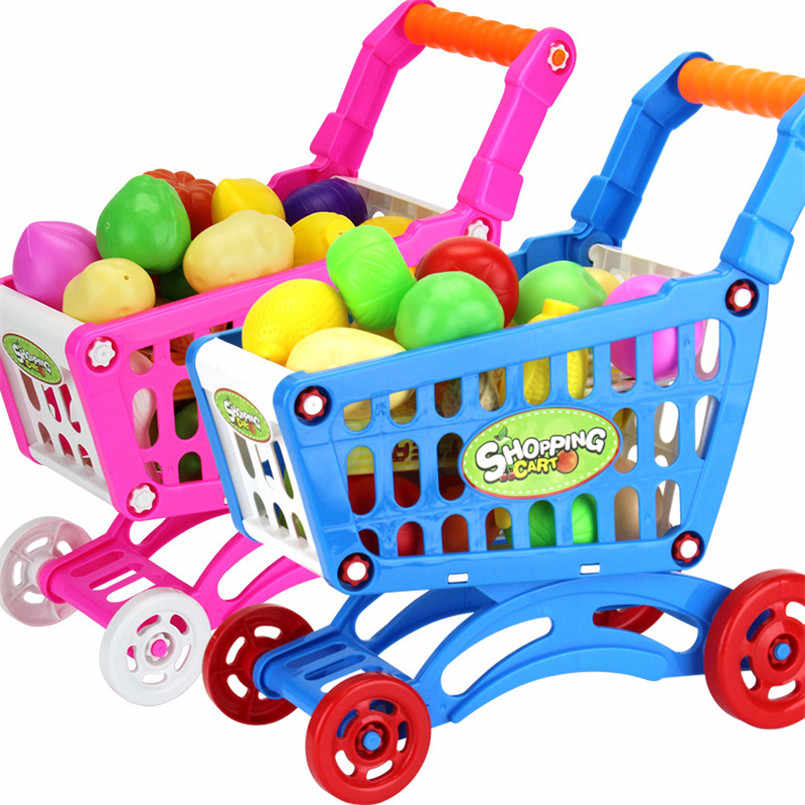 16Pcs Shopping Trolley Cart Basket Mini Play House Toy Plastic Simulation Fruit Pretend Toy For Children Christmas Gift Car Toys