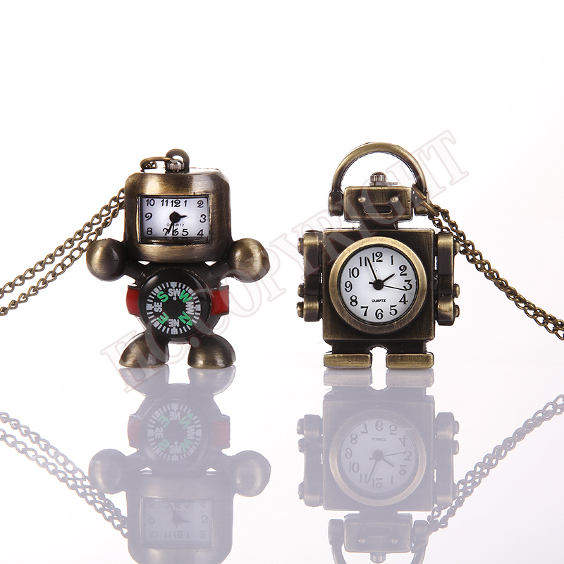 Watches Bronze Necklace Chain Robot Pattern Pocket Watches Kids Child Quartz Women Men Clock Creative Gift