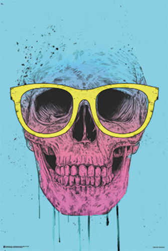 SKULL WITH GLASSES SILK POSTER Decorative painting  24x36inch