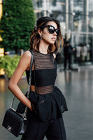 PADEGAO Fashion Hollow Out Round Collar Sleeveless Black Lace Blouse Flounce Women Tops 2017 Summer Casual