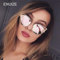 Vintage Women Brand Designer Metal Cat Eye Sunglasses Mirror UV400 CatEye Style Sun Glasses Eyewear Ladies Shades Oculos
