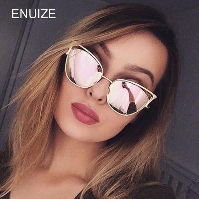 b2ef81e9498c Vintage Women Brand Designer Metal Cat Eye Sunglasses Mirror UV400 CatEye  Style Sun Glasses Eyewear Ladies Shades Glasses