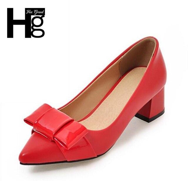 8735d3374e HEE grandes das Mulheres Do Vintage Bombas Moda Dedo Do Pé Quadrado Sapatos  Med Calcanhar Grosso