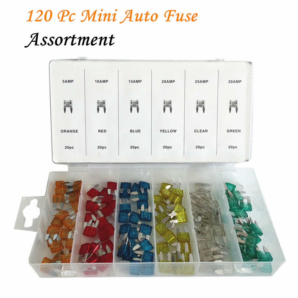 SUYIZN 120Pcs/Case Mini Blade Fuse DIY Assortment Kit 5A 10A 15A 20A 25A 30A AMP Mini Fuses Pack Auto Car Boat Motorcycle ZK08 add a circuit standard mini micro blade fuse boxes holder piggy back fuses tap