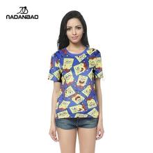 2015 new panic buying summer SpongeBob catoon digital print T-shirt casual popular woman DSS1014
