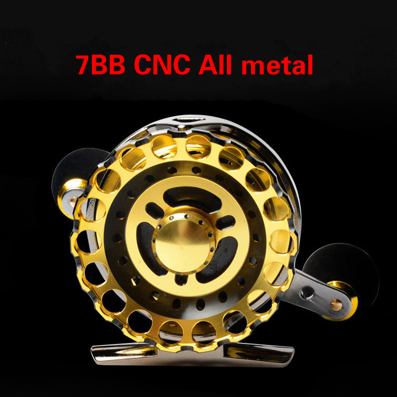 Ball Bearing Full Metal 7BB Fly Fish Reel Former Rafting Fish Reel Ice Fishing Wheel Left/Right Changeable with Raft Ratio Valve