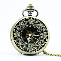 1111 Classic Steampunk Bronze Auto Stainless Steel Men Woman Skeleton Mechanical Pocket Watch