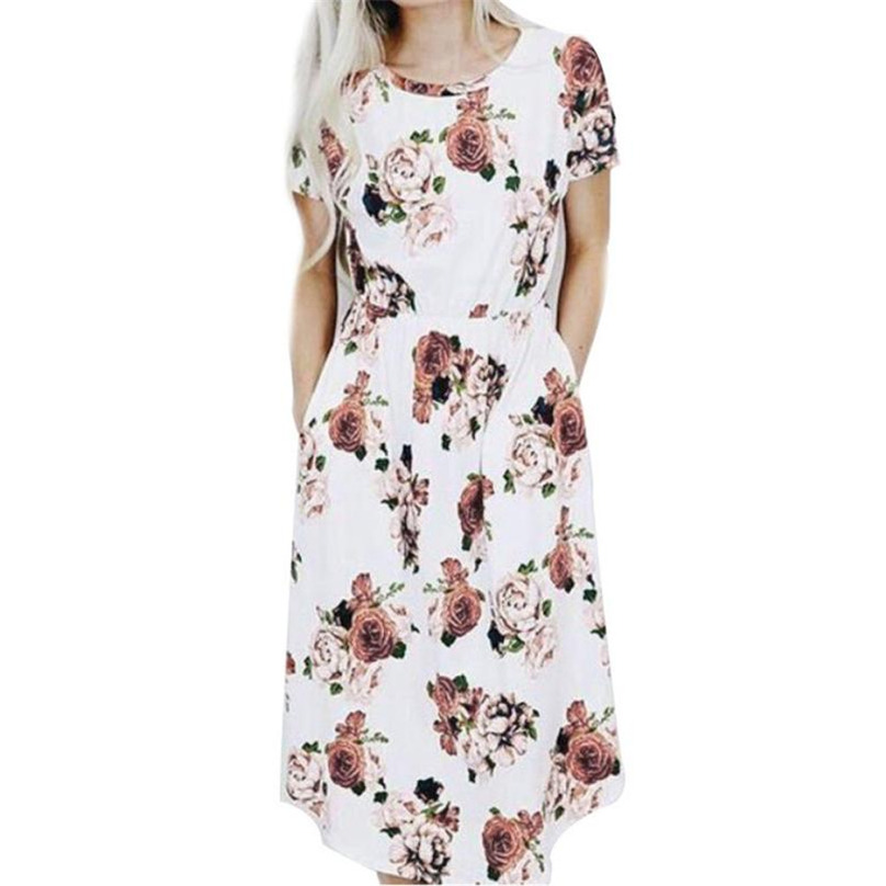 Summer Casual Dresses Women Ladies Multicolor Floral Print Short Sleeve Round Neck Bodycon Knee-length Elegant Dress FUO#68