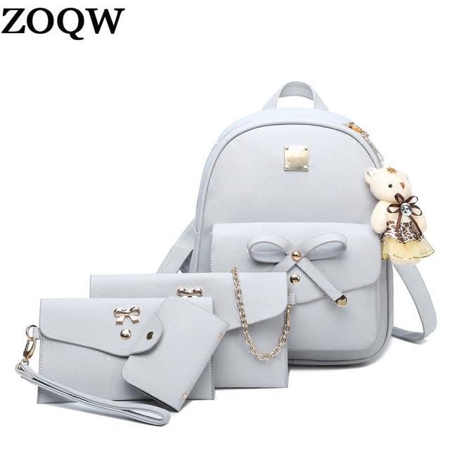 299f2abac5eca 2018 الجديدة نساء حجم الأزياء الظهر للمراهقات حقيبة صغيرة بو الجلود حقائب  النساء مع المحافظ 4