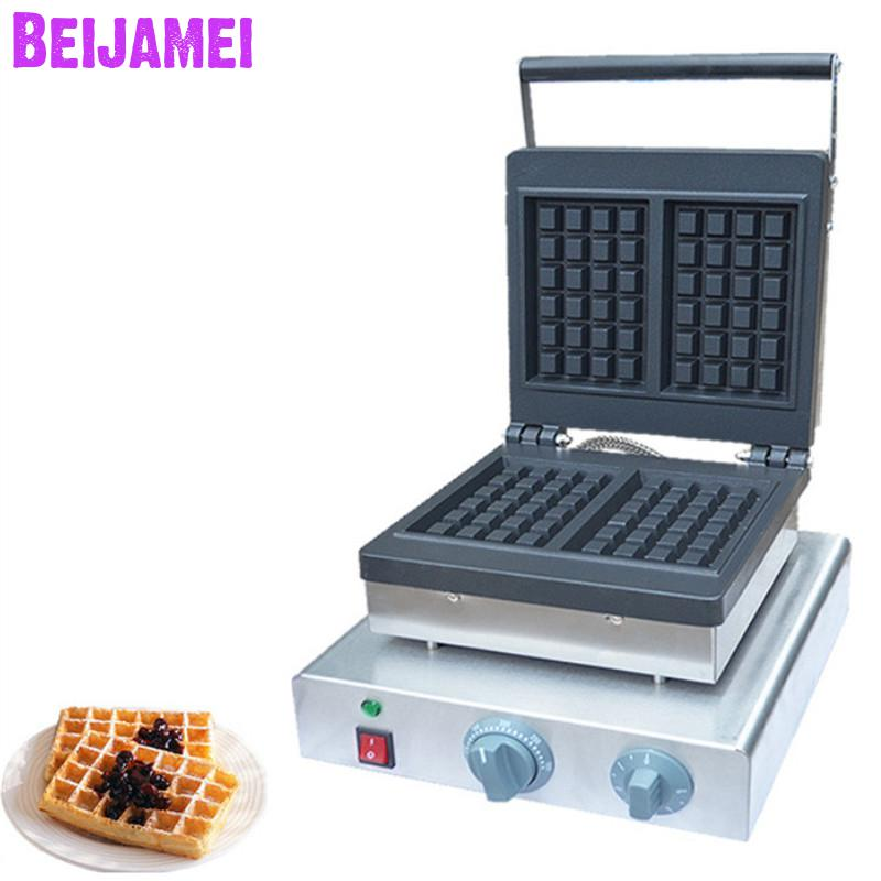 BEIJAMEI Factory Restaurant Square Waffle Maker Commercial Belgian Waffle Maker Electric Belgian Waffle Making Machines