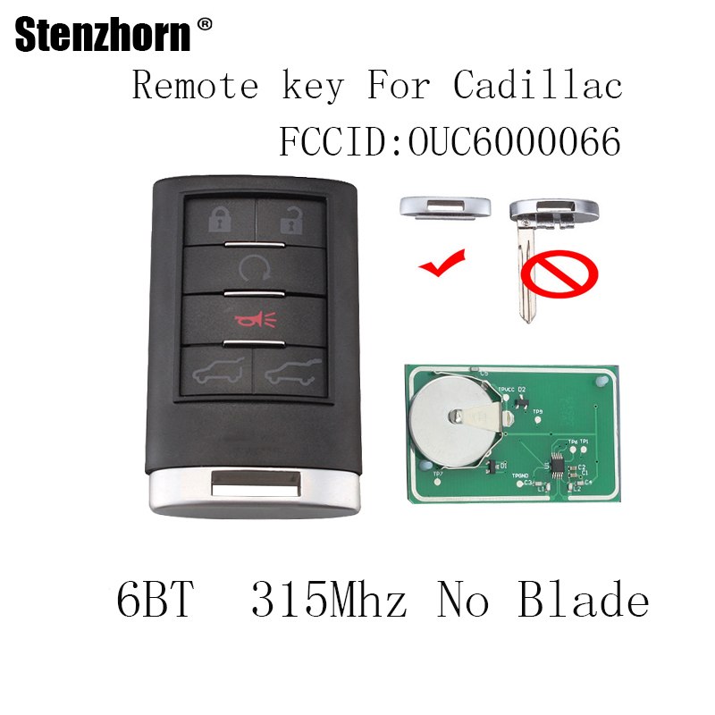 Stenzhorn 2pcs Lot 6ons Remote Start Keyless Entry Key For Cadillac Escalade Esv Ext 2007 2017 Car Suv Fob 315mhz