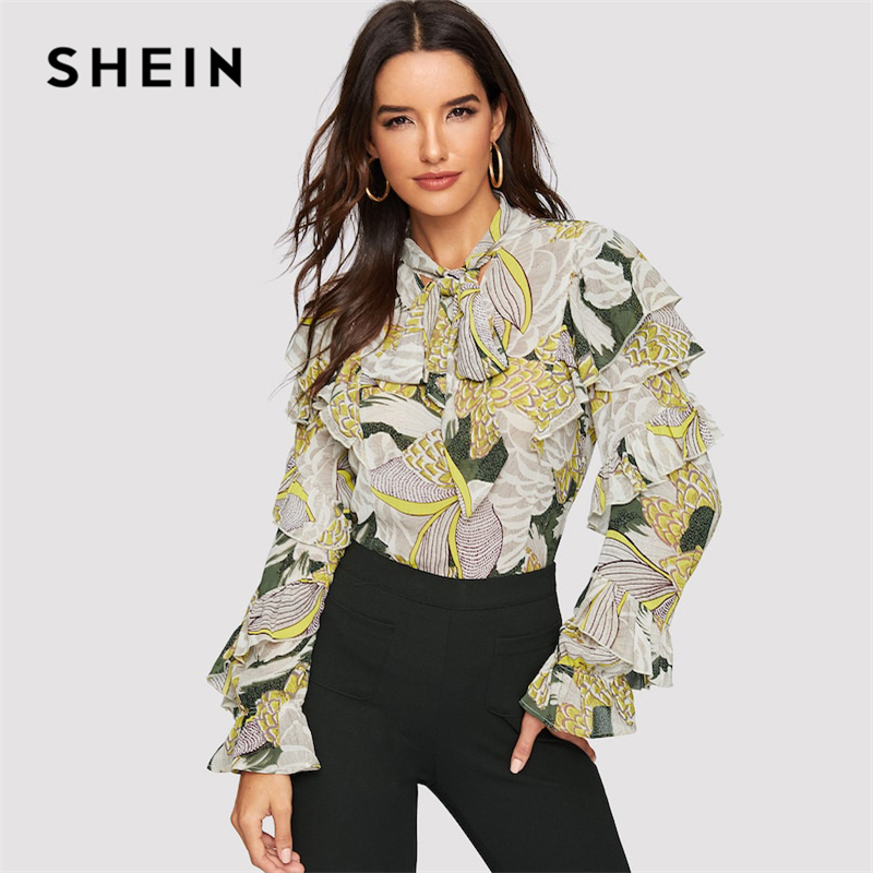 SHEIN Print Flounce Blouse 07181130150