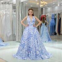 Цветочный принт Элегантные платья невесты выпускного вечера бальное платье с v образным вырезом Vestidos formatura Гала платье выпускного вечера ве