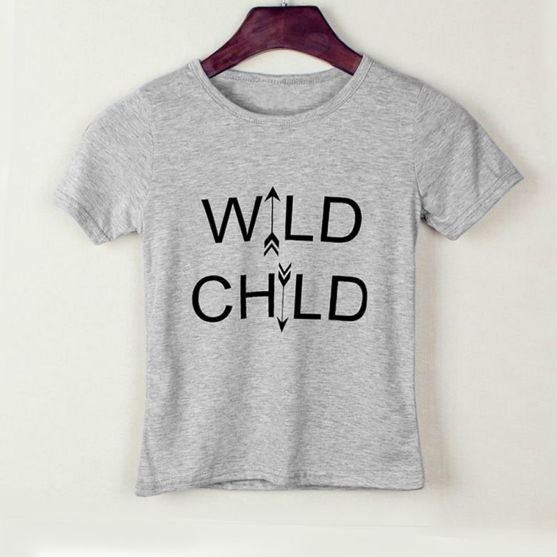 Low Price Cute WILD CHILD Letter Kid Boy Girl Short Sleeves Tops T-Shirt Casual Summer Baby Clothes