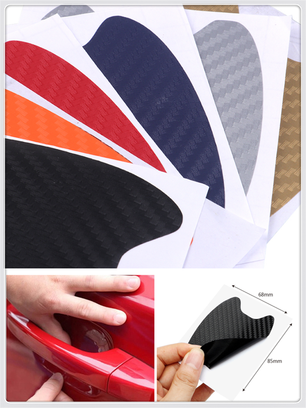 4pcs car accessories 3D carbon fiber <font><b>door</b></font> <font><b>handle</b></font> wrist scratch stickers for <font><b>Peugeot</b></font> 206 307 406 407 207 <font><b>208</b></font> 308 508 2008 3008 image