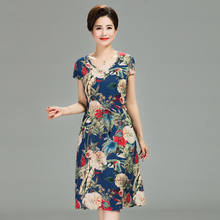 Summer woman short-sleeved dress cotton silk long section womens print loose floral