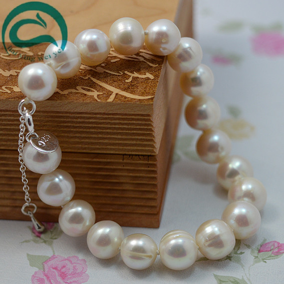 Unique 100% Natural Freshwater Pearl Bracelet White AA 10-11MM Round 925 Sterling Silver Clasp Women Real Pearl Jewellery 16 inches aa 10 11mm natural white round freshwater pearl loos strand