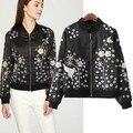 European Style Autumn New Women Embroidery Digital Winter Jacket Short Paragraph Baseball Uniform Jacket Female Coats Casual