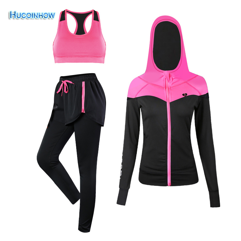 цены HUCOINHOW Women Yoga Set Sport Suit Women Fitness Sportswear Gym Workout Clothes 3 Piece Set Pants+Bra+Jacket Women's Tracksuit