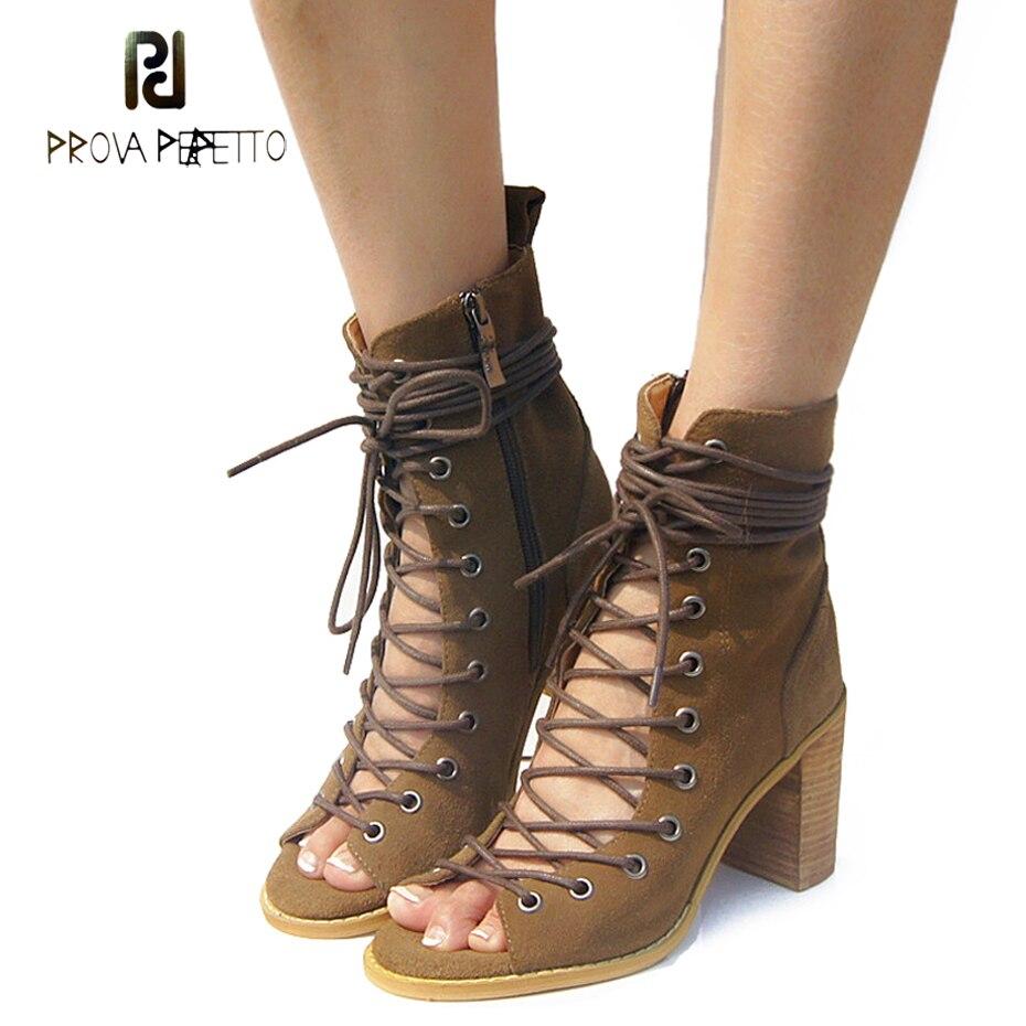 Prova Perfetto Womens Short Boots Sandals Sexy Square High Heels Somen Sandals Model Catwalk Cross Tied Brand Stretch Sandals