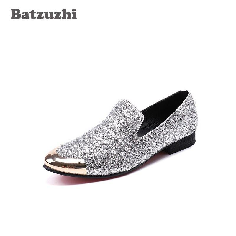 Italian Fashion Brand Men Shoes Gold Metal Cap Flats Dress Shoes Silver  Glitter Men Leather Wedding f189deb7149c
