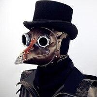 Black Death Holloween Plague Doctor Mask Bird beak Long Nose PURGE PU Glass Metal Costume Steel Punk Steam