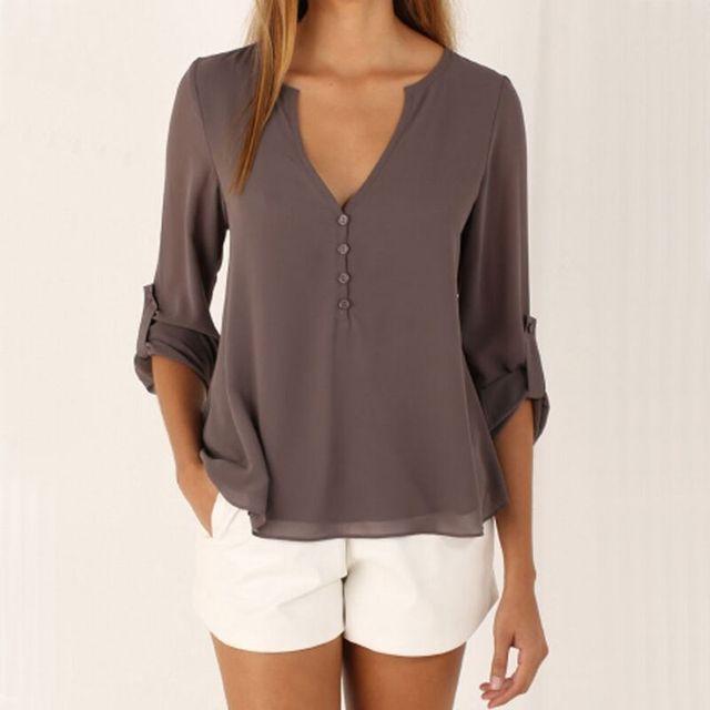 Fashion Women Blouse & shirt Plus Size S-5XL kimon Female long sleeve chiffon blouse Chic Elegant Lady Loose Tops chiffon shirt 2