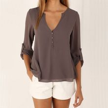 Fashion Women Blouse & shirt Plus Size S-4XL kimon Female long sleeve chiffon blouse Chic Elegant Lady Loose Tops chiffon shirt
