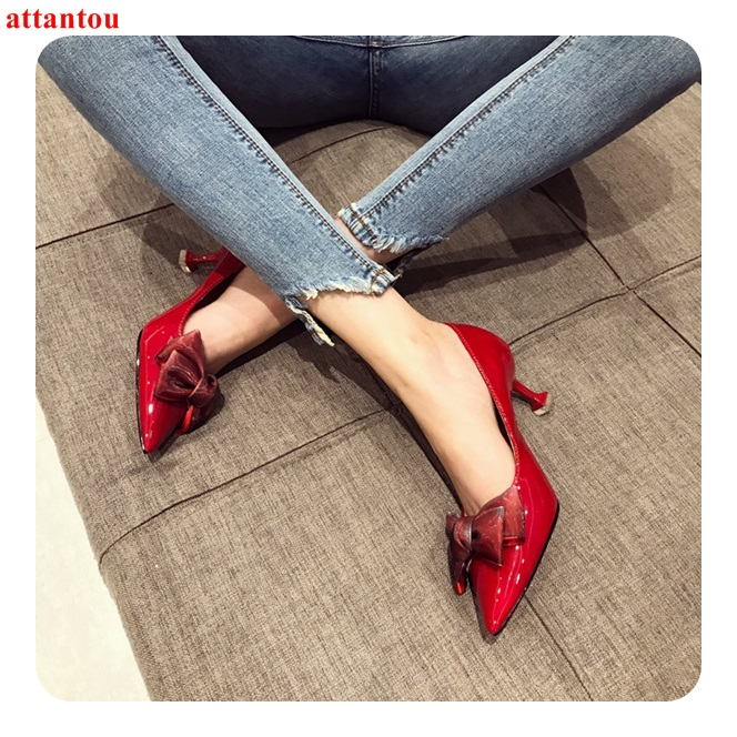 Elegant Bowknot Decor Women Wine Red High Heels 2018 Fashion Pointed Toe Sexy Pumps Slip-on Female Wedding Party Dress Shoes 2018 female fashion delicate sweet bowknot high heel leather shoes side hollow pointed women sexy wedding pumps