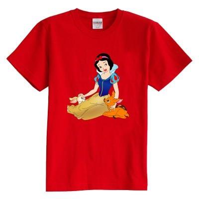Los niños de la camiseta del verano de manga corta 100% algodón de dibujos animados Blancanieves y el conejo ciervos de la muchacha del cabrito de la camiseta