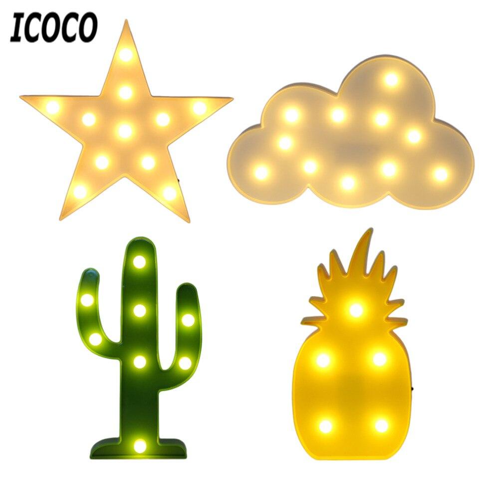 ICOCO 1ks Creative 3D LED světla z plastu světla Romantická noční lampa stolní lampa LED noční osvětlení Home Vánoční dekorace Hot Sale