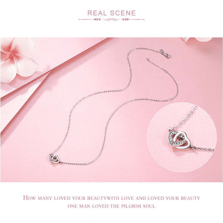 HTB1hPoElgfH8KJjy1zcq6ATzpXaz BAMOER Valentine Day Gift 925 Sterling Silver Connected Heart Couple Heart Pendant Necklace for Girlfriend Silver Jewelry SCN181