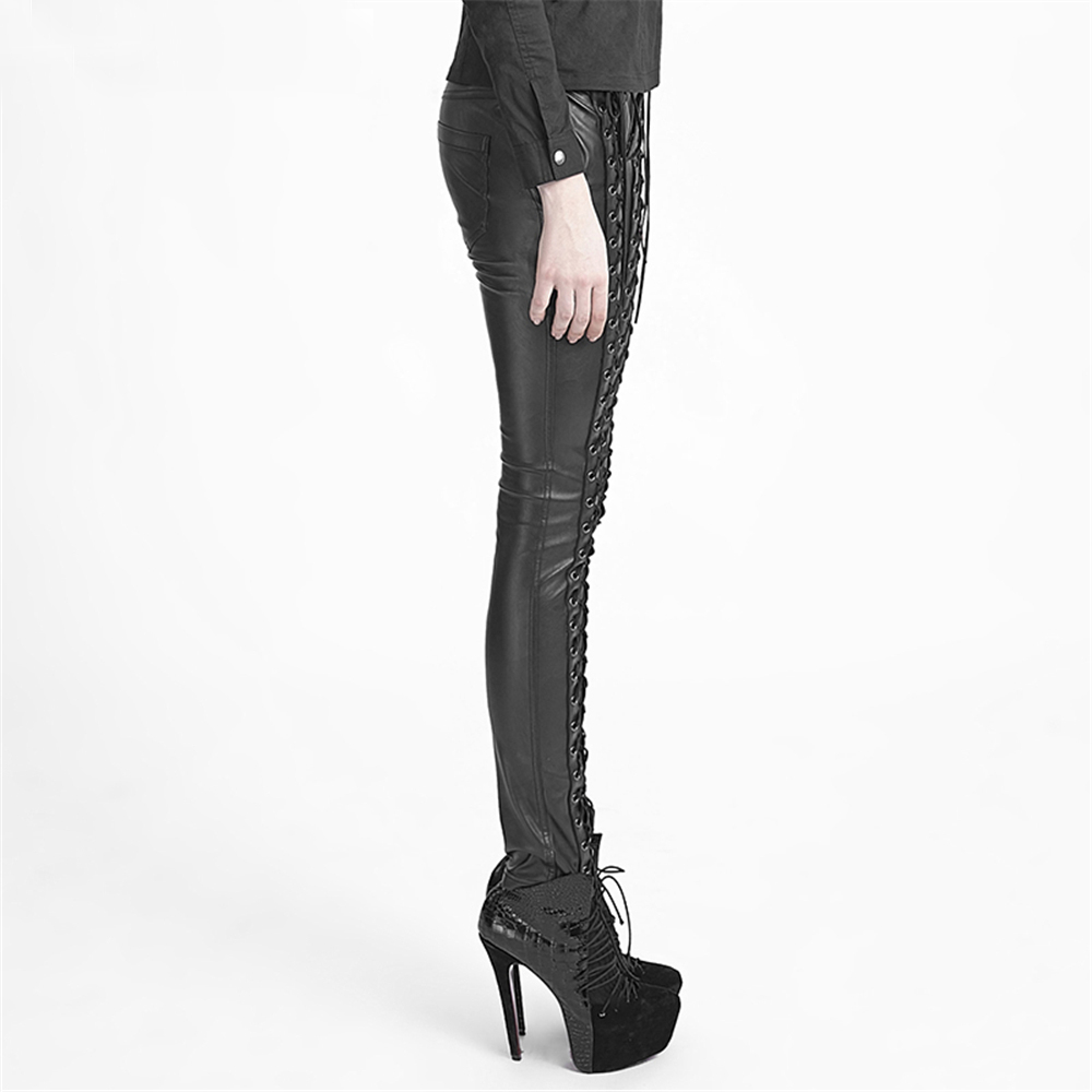 Gothic Women Strap Leather Pants Steampunk Lace up Casual Trousers  Exaggerated Skinny Pants -in Pants & Capris from Women's Clothing &  Accessories on ...