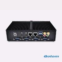 Qotom Q310P Dual Core 1.7 г 3215U X86 двойной RJ45 мини компьютер 12 В 1080 P USB 3.0 6 RS232 тонкий клиент x86 сервер Linux Ubuntu ПК