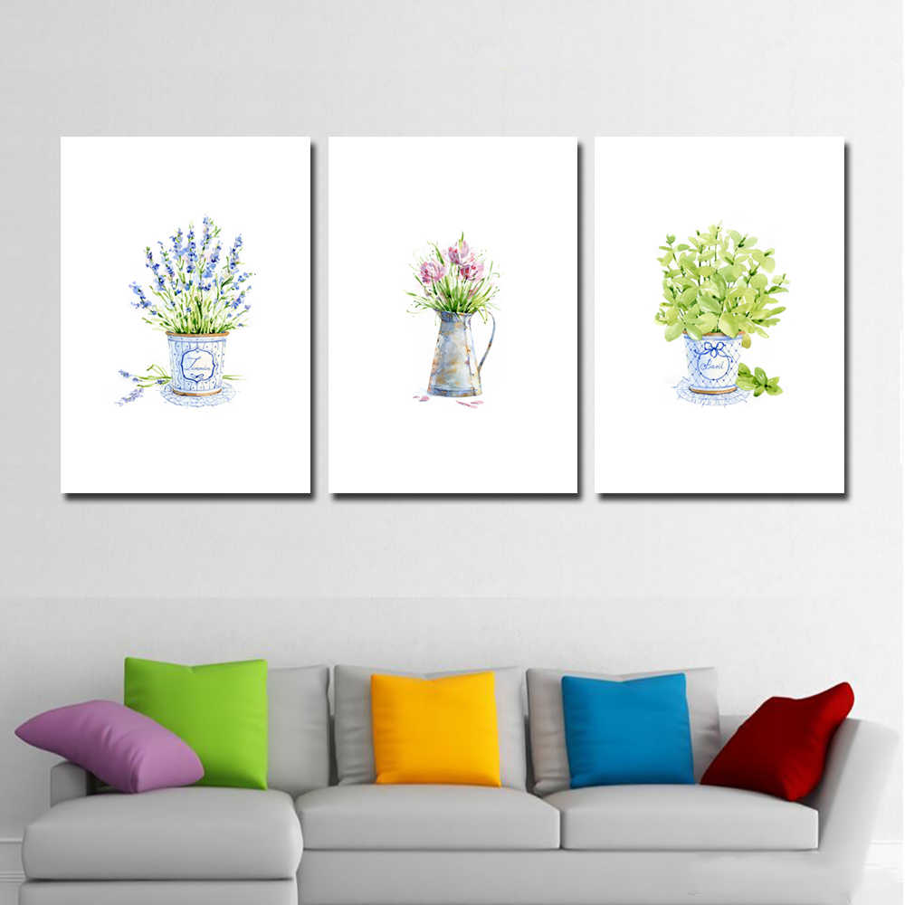 Wall Watercolor Lavender Flowers Simple Decoration Canvas Art Poster Painting Wall Decor Picture For Home Decoration Painting Calligraphy Aliexpress