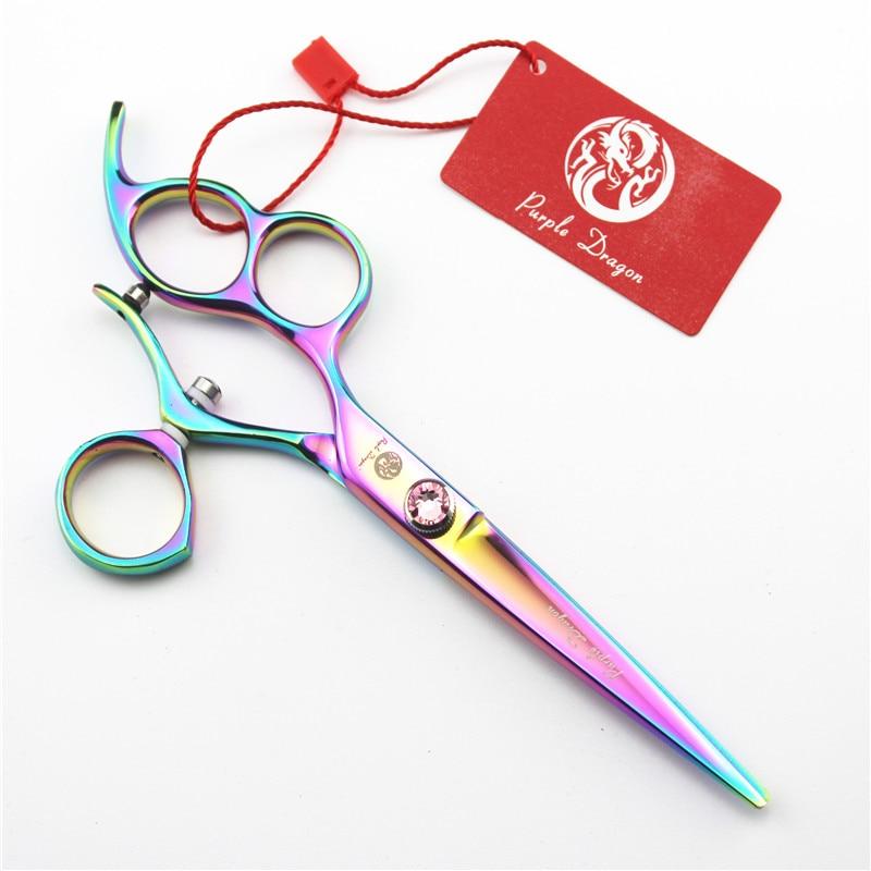 Purple Dragon 6 inch Left Hand Professional Barber Swivel Scissors Hairdressing Flying Scissors Salon Equipment Hair Makas