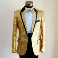 Sequins Prom Dresses Suits Plus Size S 4XL Paillette Male Master Stage Costumes Men top Host Clothing Singer Blazer Jacket