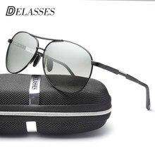 DELASSES Camaleão Dos Homens óculos de Sol de Alumínio E Magnésio Condução Óculos  Polarizados Fotocromáticas Óculos oculos óculo. 54a09b3a97