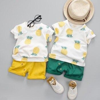 2019 Summer Children sets baby clothes boys 2pcs set  suit cartoon  t-shirt+ pants kids clothes 100% cotton kids sets