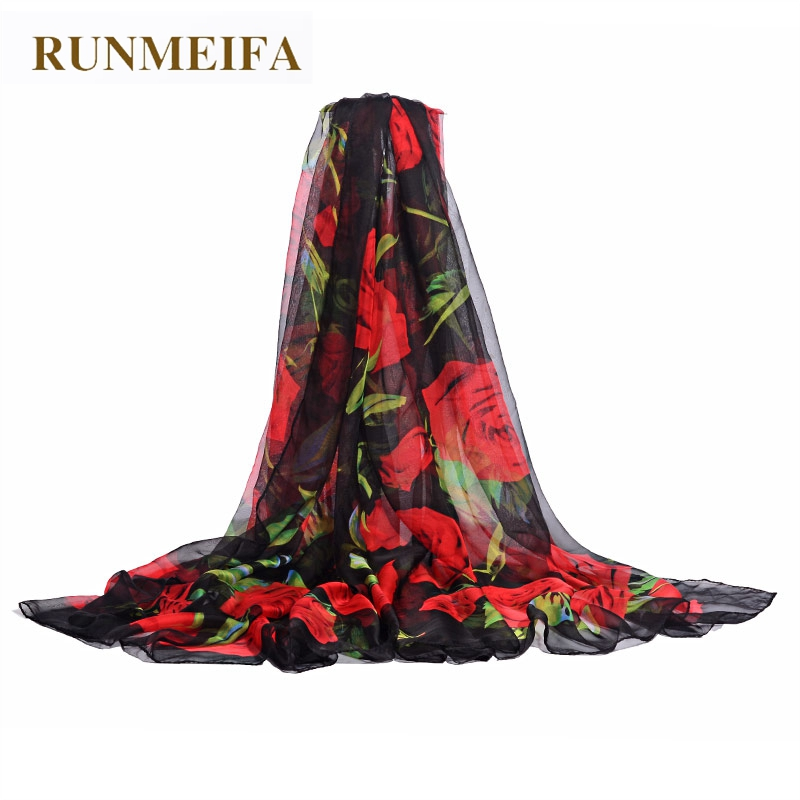 RUNMEIFA Chiffon Scarf Women Summer Thin Chiffon Romantic Rose Print Silk Scarf Oversize Sunscreen Shawl Female Brand Scarf