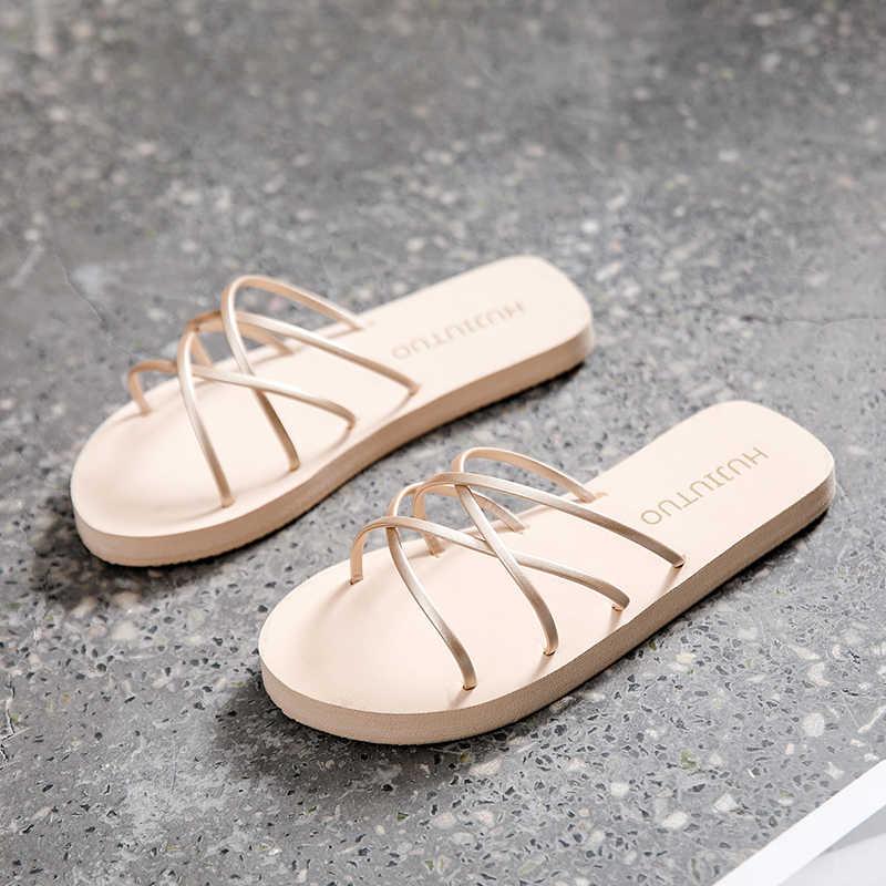 Wanita Sandal 2019 Musim Panas Pantai Sandal Sepatu Kasual Wanita Tumit Datar Tali Sandal Roman Wanita Slides Luar Ruangan Pin