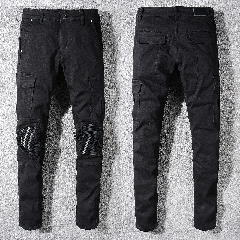 New Italy Style #576# Men's Distressed Ripped Cargo Pants Holes Patches Washed Black Skinny   Jeans   Slim Trousers Size 29-42
