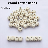 Chenkai 500pcs 10mm Nature Wood Alphabet Letter Cube Beads DIY Baby Pacifier Chain Clip Dummy Teether