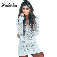Fitshinling Бохо вязаные крючком пляжное платье женские открытые пикантные белые Короткие платья купальники, парео осенний праздник выход