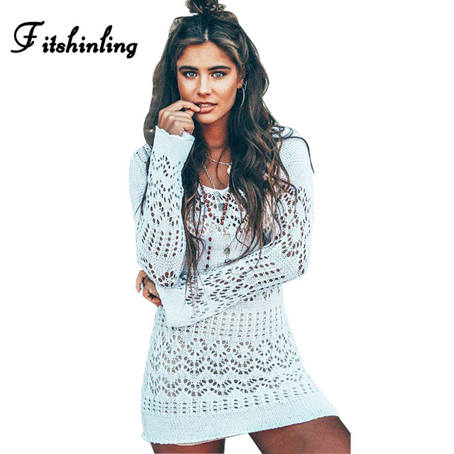 ac77aa7679726a Fitshinling Boho gehaakte gebreide strand jurk vrouwen hol sexy hot wit  korte jurken badmode pareos herfst