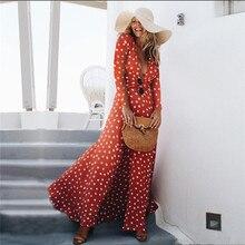 2018 Autumn Women Long Maxi Dress Bohemia Deep V-neck Long Sleeve Polka Dot Fall Beach Female Split Stylish Style Maxi Dresses